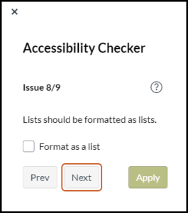 Screenshot showing the Canvas Accessibility Checker tool with feedback and remediation help for list formatting.