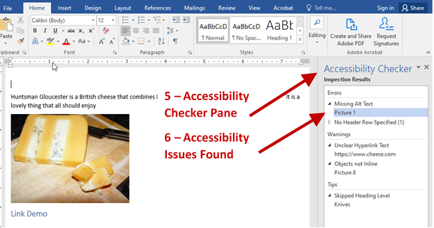 Screenshot with arrows and labels for the Accessibility Checker Pane and Accessibility Issues Found.