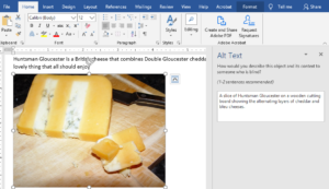 Screenshot of a Word Document with a picture of a piece of cheese. The alt-text box open and contains the following alt-text: