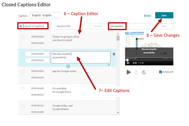 Screenshot showing the caption editor with arrows showing the editor with an edit in progress, highlights for the search and add speaker functions and the Save Button.
