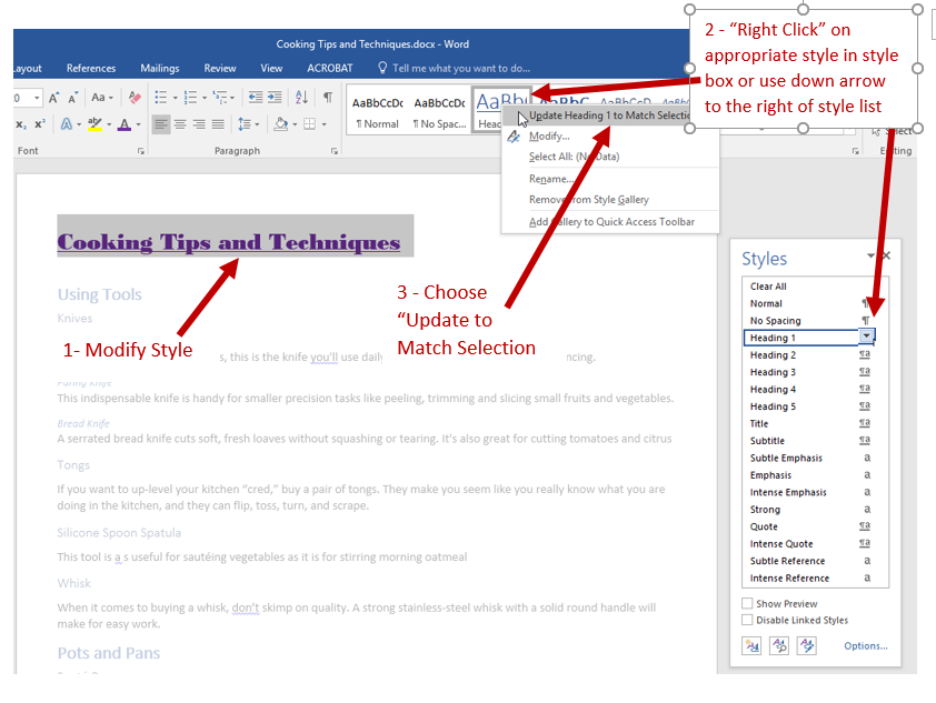 "Screenshot showing Office Document with modified heading and directions to right click the appropriate heading in the style box in the Home Ribbon (or to use the pull down at the right of the heading in the style pane) then choosing ""Update to Match Selection"" in the dialog box that opens."