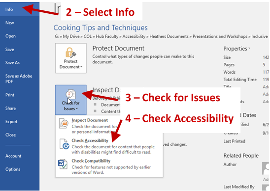 Screenshot of File Tab page with arrows and labels for Select Info, Check for Issues box and the Check Availability menu option.