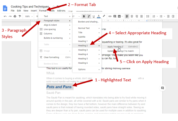 Screenshot showing highlighted text, format tab, paragraph style, heading and apply heading to click on