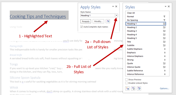 Screenshot of Office Document showing the Highlighted text and the Apply Styles Pane with an arrow showing the pull down menu and Styles Pane showing the full list of style options