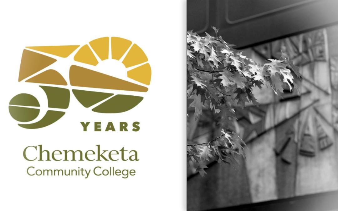 Chemeketa 50th Anniversary logo and campus photo
