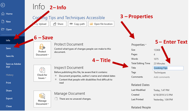Screenshot showing file tab page with arrows showing 2 – Info, 3 – properties column, 4 -title, 5 – text box where you enter the title and, 6 – the save command.