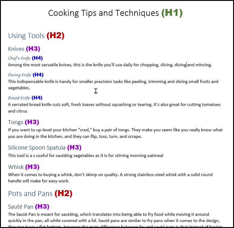 Screenshot showing a document about cooking tools with each of the heading sections labeled with the appropriate heading (Title H1, Main sections H2, sub-sections H3-H4).