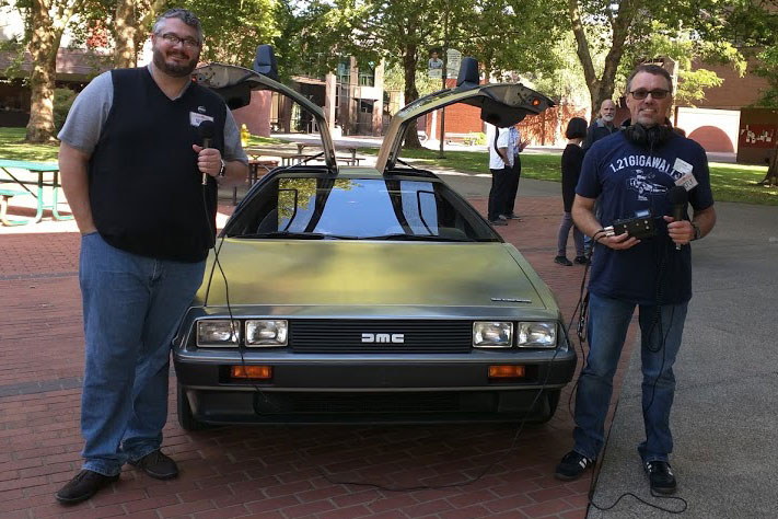 HubTalk Colin and Bill in front of aDeLorean