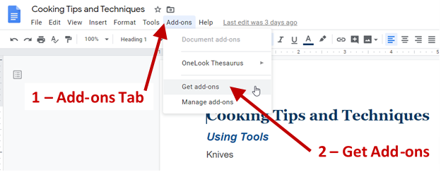 Screenshot of Google Doc showing the add-on tab and drop down menu with the Get add-ons option.