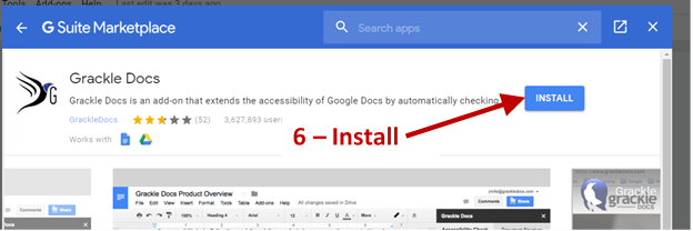 Screenshot showing the install button to install Grackle from the G Suite Marketplace.