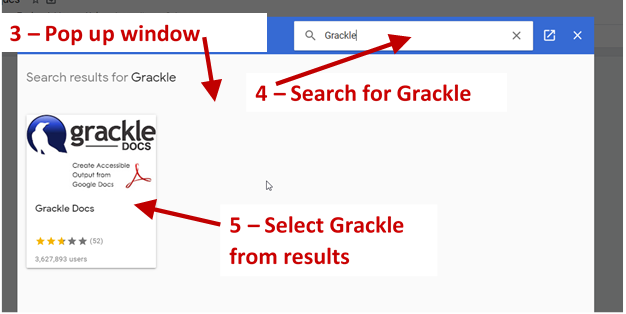 Screenshot showing the pop up window with the search box and the results of a search for Grackle.