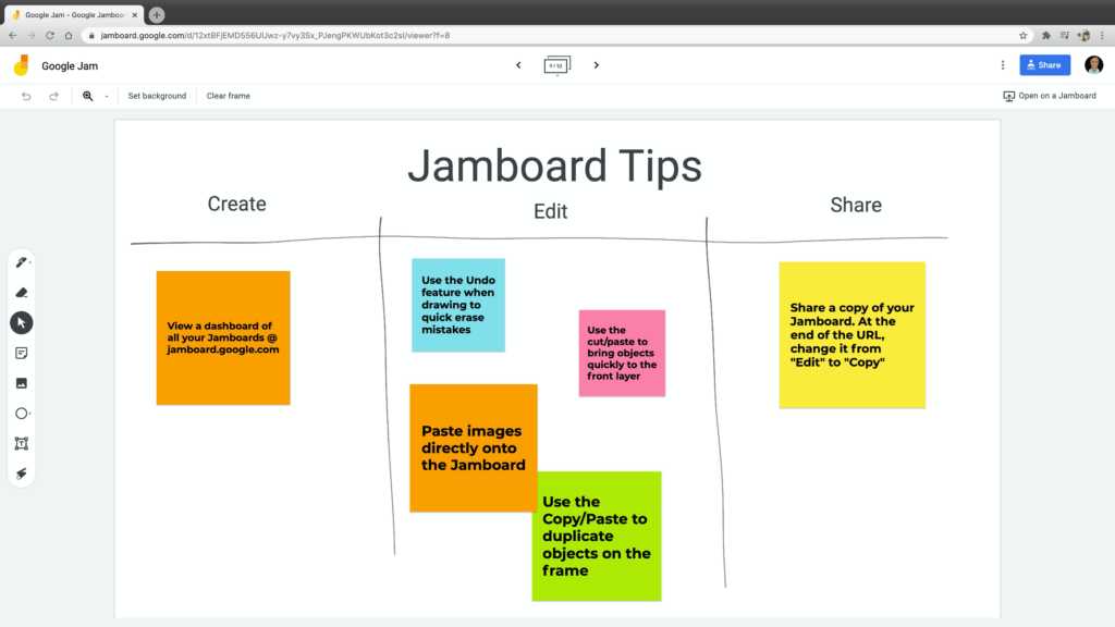 Screenshot showing the Google Jamboard website with an example of a post-it note activity on a whiteboard.