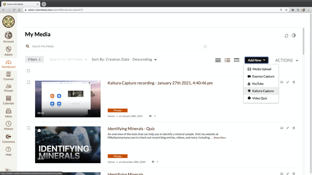 Screenshot showing the Kaltura My Media library integrated in Canvas