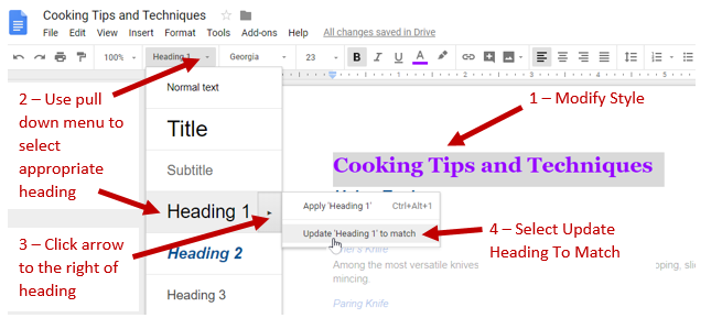 """Screenshot showing the modified text, the heading chosen from the style box pulldown, the dialog box opened by clicking to the left of the heading selection with the option """"update heading to match"""" selected."""