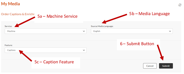 Screenshot showing the My media Order Captions and Enrichment Page with the Service option (Machine), Media Language Option (English), Feature Options (Captions), and Submit Button.