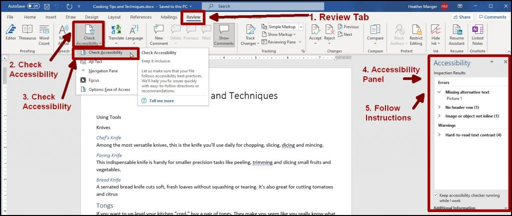 Screenshot of a Word doc highlighting the review tab, accessibility selections and accessibility panel open on the right.