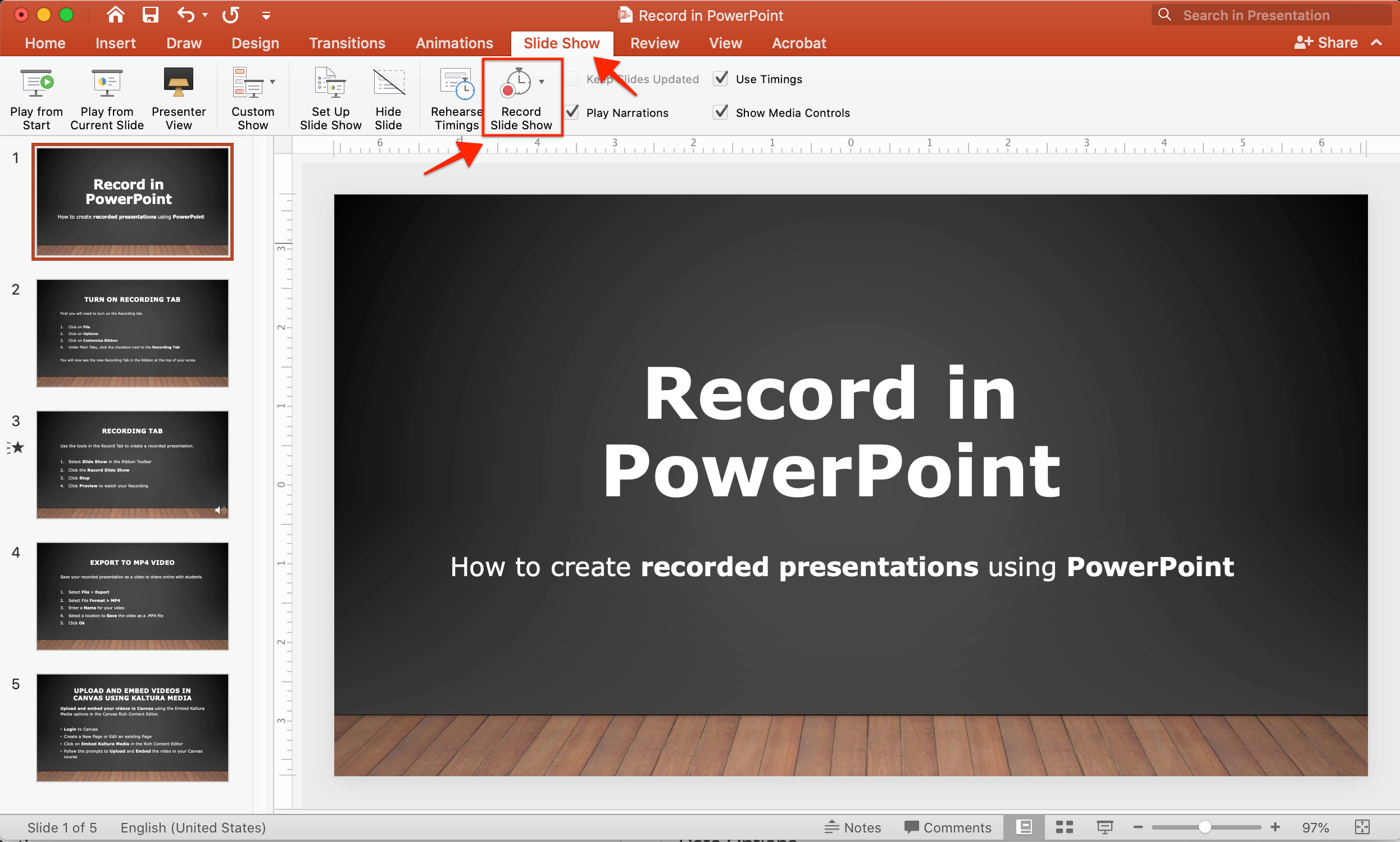 Screenshot showing the Record Slide Show feature in PowerPoint for Mac 2019