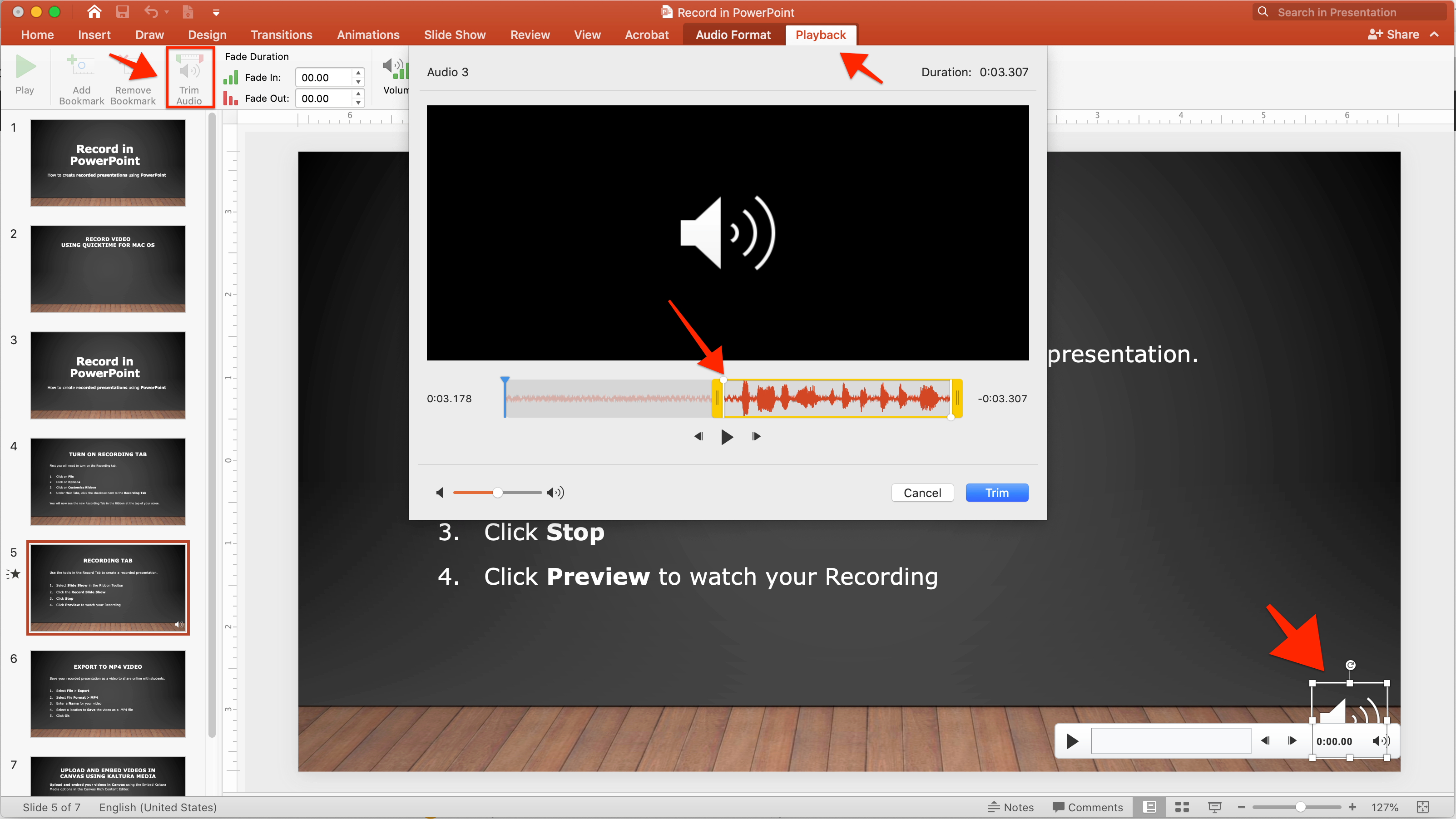 Screenshot showing the Trim Audio features in PowerPoint for Mac 2019