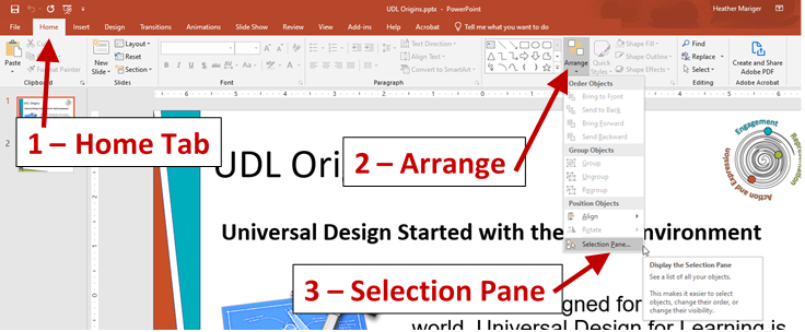 Screenshot of PowerPoint slide showing home tab, arrange toggle and the selection pane in the drop-down menu.