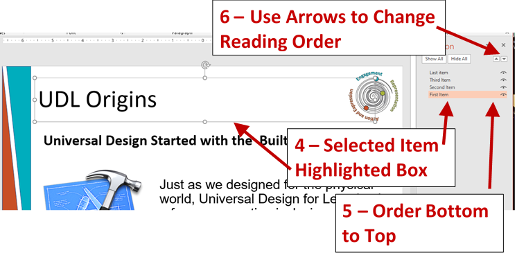 Screenshot showing open order pane with item selected, the top to bottom order, and the arrows to change reading order.
