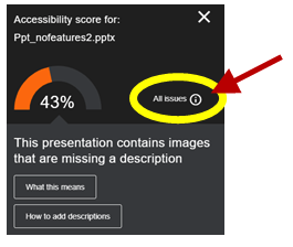 Screenshot of Ally Feedback for a PowerPoint missing alt text with the option to see all issues highlighted.