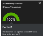 Screenshot of Document score with a 100% score.