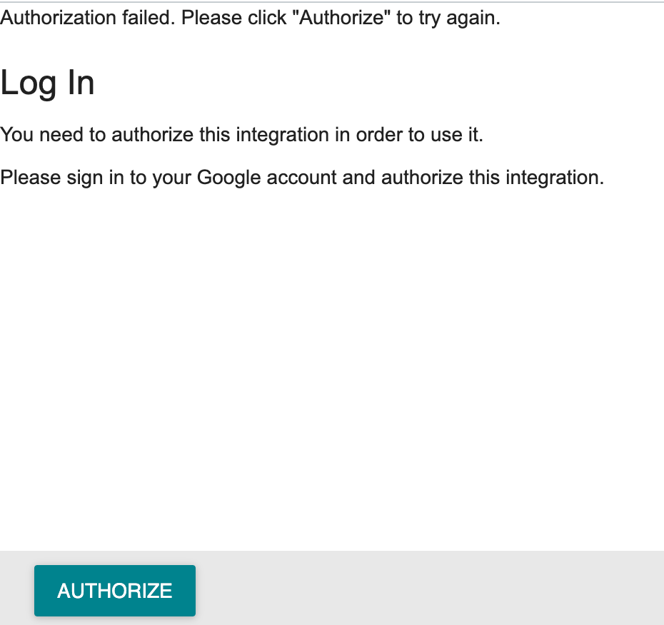 "Screenshot of error message in Canvas: ""Authorization failed. Please click ""Authorize"" to try again."