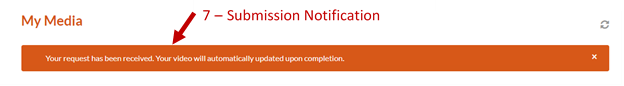 Screenshot of the submission notification.
