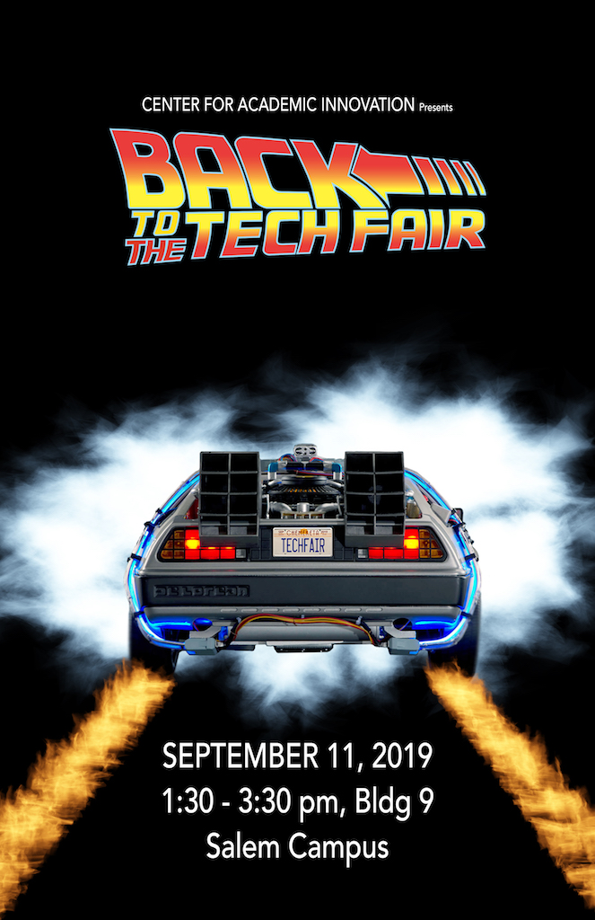 2019 Tech Fair poster showing car from Back to the Future
