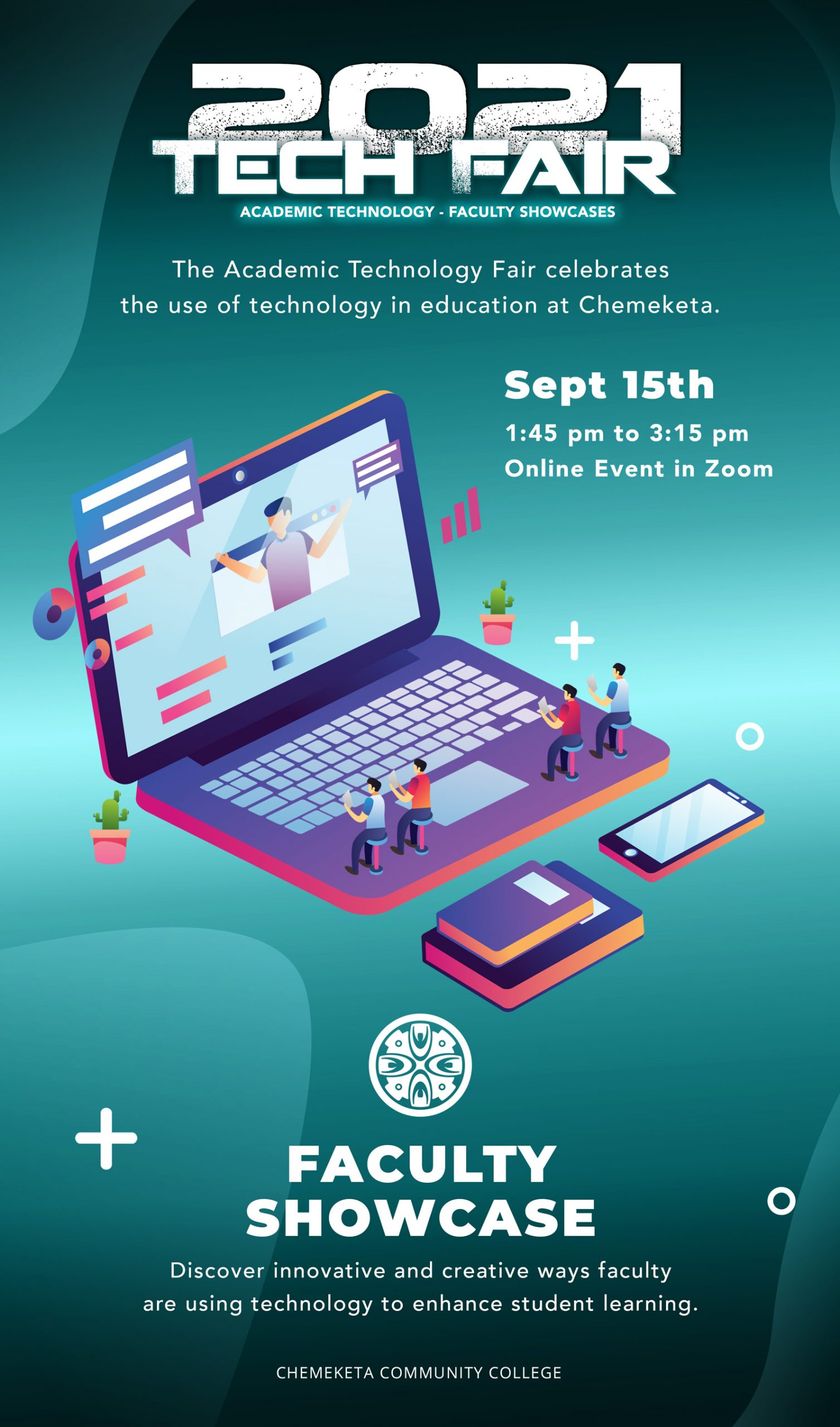 2021 Tech Fair Poster with event information about the faculty showcase