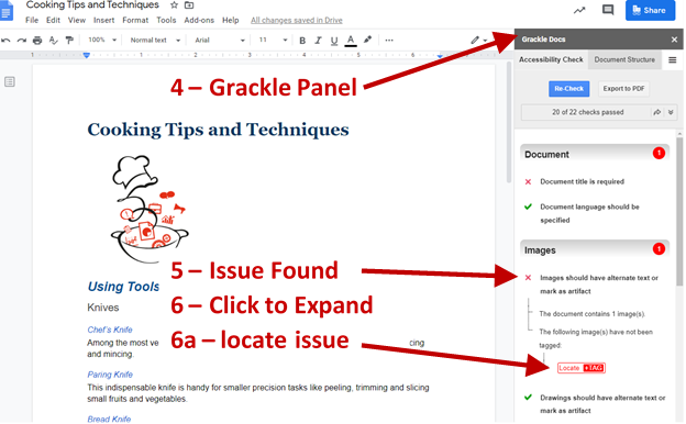 Screenshot of Google Document showing Grackle Panel, Issue Found and expanded, and a tag to locate an issue.