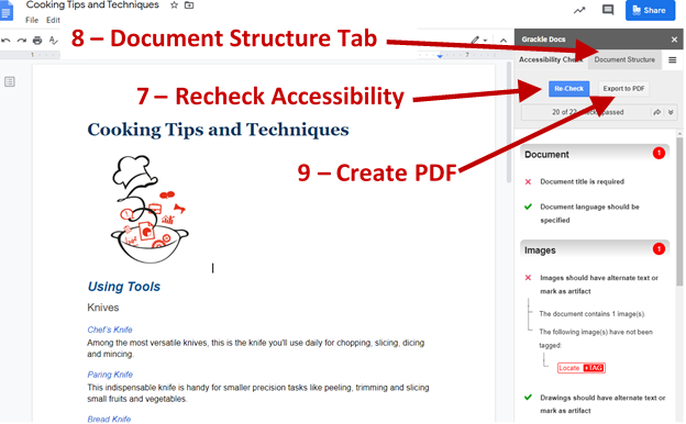 Screenshot showing the Re-check button, the Document Structure Tab and the Create PDF Button.