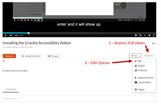 Screenshot of video page with arrows showing the action pull down menu and edit option.