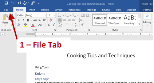 Screenshot of Word Home Page with an arrow identifying the File tab.