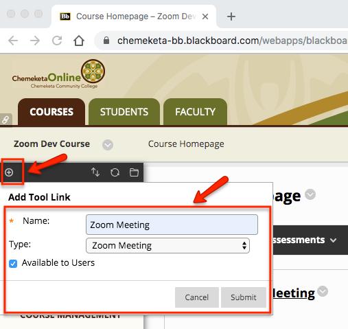 Screenshot showing menu options to add the Zoom tool to an eLearn course menu.