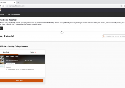 Screenshot of the VitalSource launch page for a Canvas Course