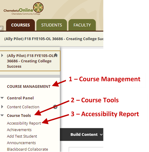 Screenshot showing the eLearn course page menus with arrows to the Course Management section, the Course Tools submenu and accessibility report option.