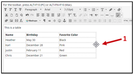 Screenshot of a table created in the elearn shell with three columns and five rows. The header rows are Name, Birthday and Favorite Color.