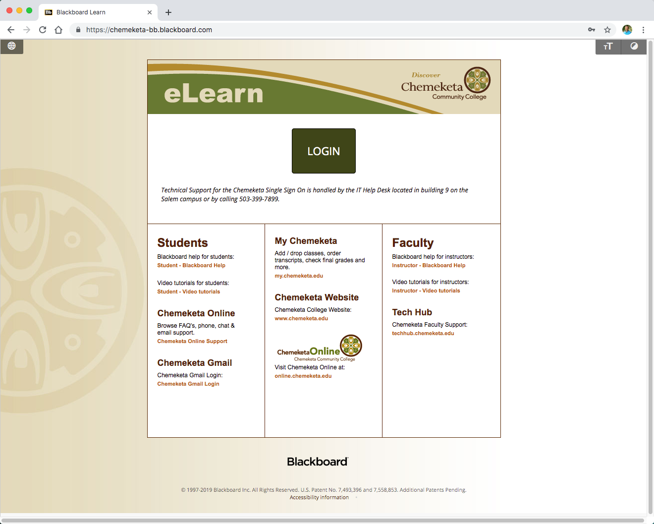 Screenshot showing the eLearn login webpage