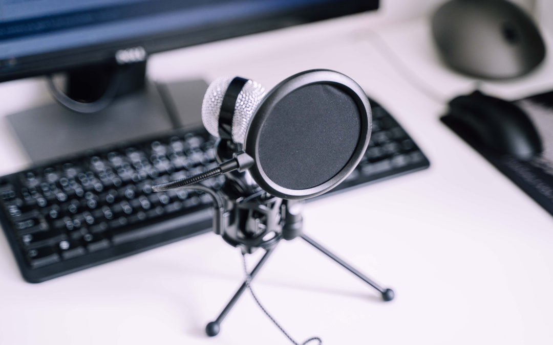 microphone and keyboard on table