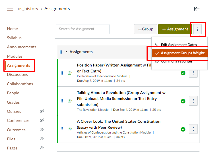 click assignments, then the 3 dots icon, then assignment groups weight