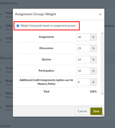 toggle the weighted total check box and adjust percentages