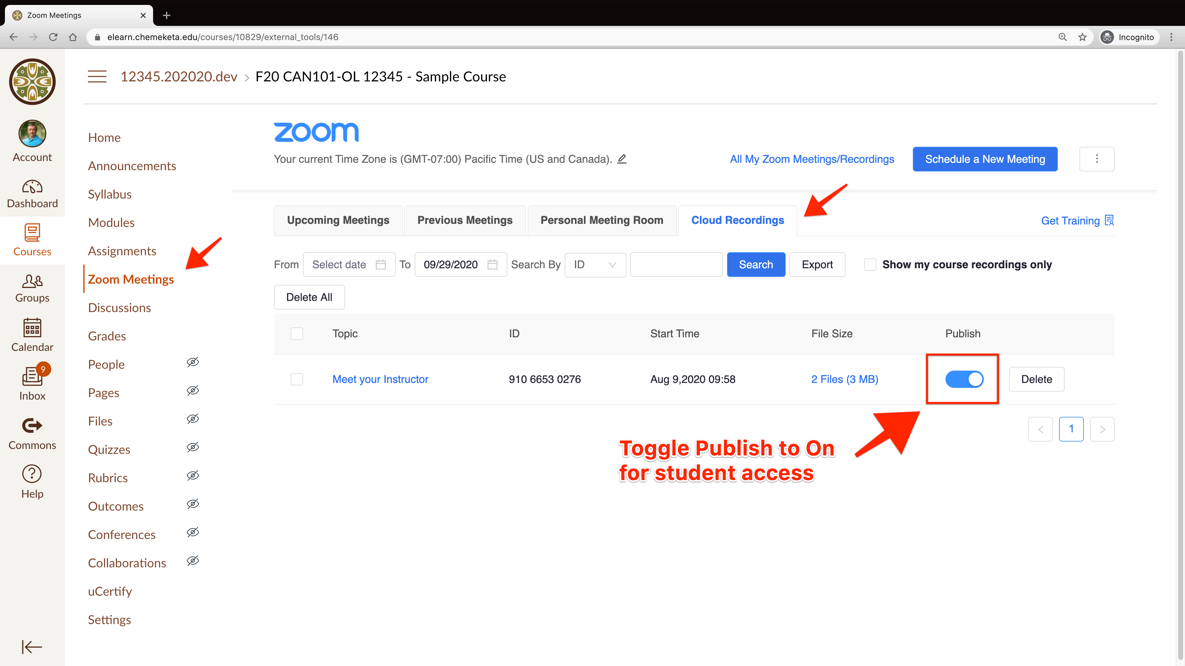 Screenshot showing the toggle button to Publish a Zoom Cloud Recording in Canvas