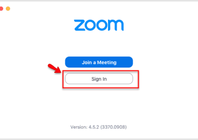 Screenshot showing the Zoom desktop app login screen