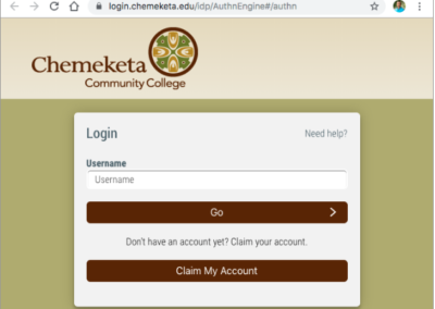 Screenshot showing the Chemeketa Single Sign On screen
