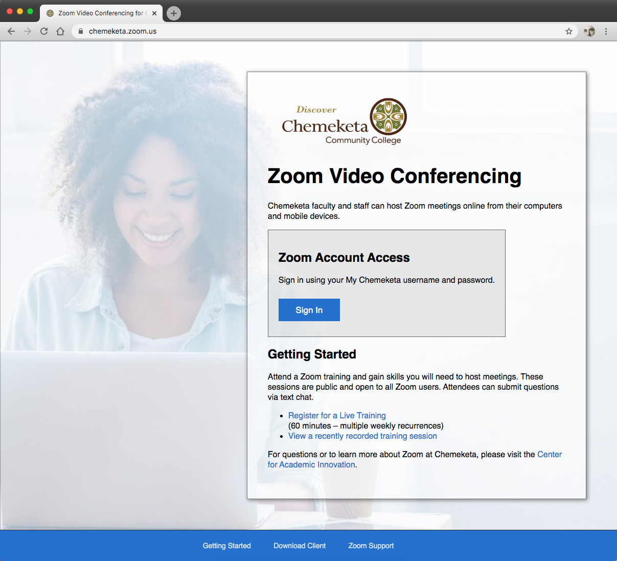 Screenshot showing the Chemeketa Zoom website